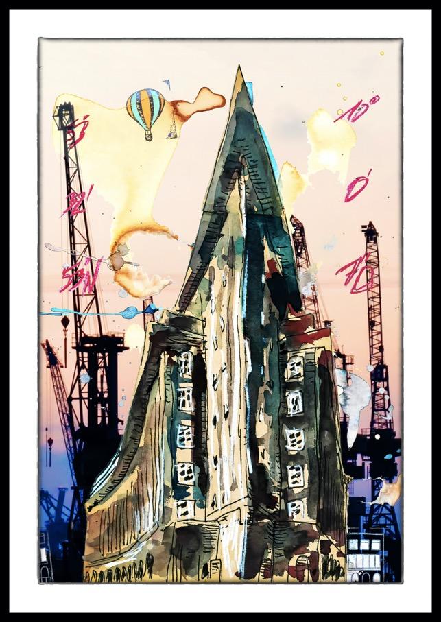 der Fotokünstler Hamburg Hafencity Bilder Fotos Bild Foto Chilehaus Chile Haus Blohm Voss Digital meets Analog Leinwand Alu-Dibond Aludibond Alu Dibond Schattenfugenrahmen Acrylglas