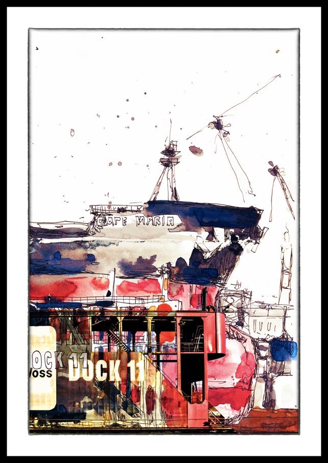 der Fotokünstler Hamburg Bilder Fotos Bild Foto Hafen Blohm Voss Dock11 Dock 11 Elbe Digital meets Analog Leinwand Alu-Dibond Aludibond Alu Dibond Schattenfugenrahmen Acrylglas